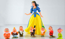 Factory Price DHL800PCS/100set Hot Snow White and the Seven Dwarfs Figures / Cake Topper/ Kids Gift