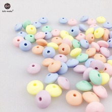 Let's Make Silicone Beads Abacus 100pc Soft Pastel Candy Color Saucer Loose Beads Baby Teether Diy Crafts Chew Baby Lentil Beads(China)