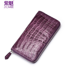 ZIOMEE women crocodile leather purple zipper clutch bag socialite genuine alligator luxury brand handmade evening party handbags