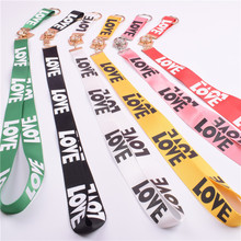 UVR 100pcs/lot Mobile Phone Straps Love word Widened Wear a rope  Badge students card sets of socks Hanging neck rope