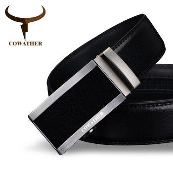 Cowather 2017 vaca correas de los hombres de moda de cuero genuino de calidad superior para los hombres hebilla automática correa cinto masculino fr envío libre