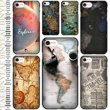 World Map Travel Plans Black Scrub Case Cover Shell for iPhone Apple 4 4s 5 5s SE 5c 6 6s 7 Plus