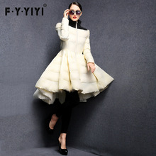 FYYIYI Pleated wave skirt 2017 New Fashion Women Winter Down Jackets Warm Long Slim Coat Female Big Swing Ladies Outwear Dress