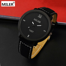 Miler Brand Mens Watches Top Brand Luxury Quartz Male Clock Casual Leather Band Watch Military Wristwatch Relogio Male masculine