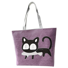 Girl cat eat fish shopping bag Shoulder Women Handbags beach tote bags handbags purple
