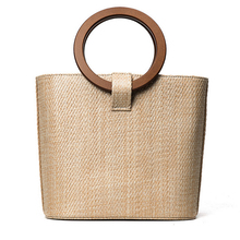 2017 new simple high quality women summer beach bag shoulder bag woven solid wood handbag