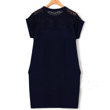 2017 Summer 5XL 4XL XXXL XXL Plus size Women Fashion Straight Lace Shoulder Short Sleeve Black White Navy Big size Office Dress