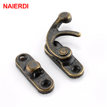 NAIERDI Small Antique Metal Lock Decorative Hasps Hook Gift Wooden Jewelry Box Padlock With Screws For Furniture Hardware(China)