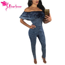 Dear Lover Jumpsuits Rompers Fashion Sexy Club Long Jeans Blue Ruffle Off Shoulder Bodycon Denim Overalls Women Playsuit LC64262