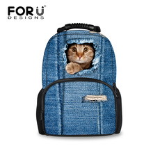2016 Women Backpacks 3D Animal Jeans Kitty Cat Backpacks School Bagpack For Teenager Girls Ladies Travel Laptop Backpack Bags(China)