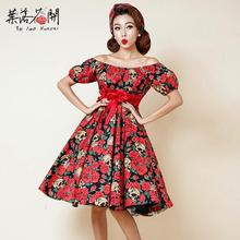 2016 Women Summer Red Rose Skull Floral High Waist Retro 50s 60s Slash Neck Puff Sleeve Dress Vestido de Festa WOMEN