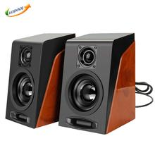VODOOL Wood Speaker Subwoofer Restoring Ancient Ways Desktop Small Computer PC Speakers With USB 2.0 & 3.5mm Audio Interface(China)