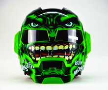 Man bicycle motorcycle Iron helmet and four personality half the green giant locomotive