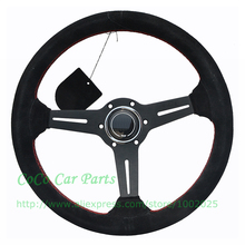 Suede Leather Racing Car Steering Wheel 14 Inch Racing Steering Wheel 350mm Sport Auto / Game Steering Wheel(China)