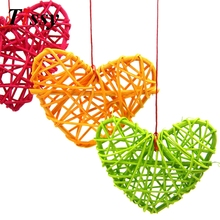 5PCS 10CM Colorful Rattan Heart Sepak Takraw DIY Rattan Ball Home Garden/Birthday/Wedding Party Decoration Supplies Kids Gifts