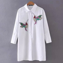 Women Embroidered Hummingbirds Sequins Long Sleeve Blouse Tops Shirt 2017 New Spring Summer Season Clothings(China)