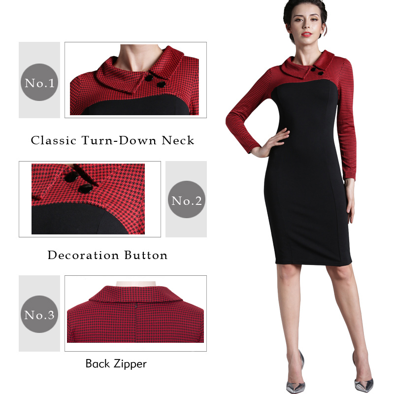 Nice-forever Elegant Vintage Fitted winter dress full Sleeve Patchwork Turn-down Collar Button Business Sheath Pencil Dress b238 3