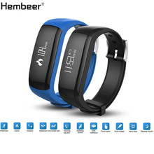 Hembeer H6 Smart Band Vibrating Alarm Bracelet Calorie Counting Wristband Bluetooth Fitness Tracker Clock Black Blue pk fitbits(China)