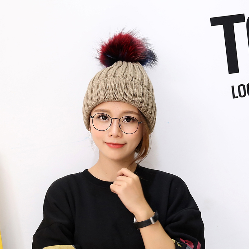 2016 new 100% raccoon fur Autumn and winter Colored 15cm ball thickening Knitting wool cap Keep warm pointy hat womanОдежда и ак�е��уары<br><br><br>Aliexpress