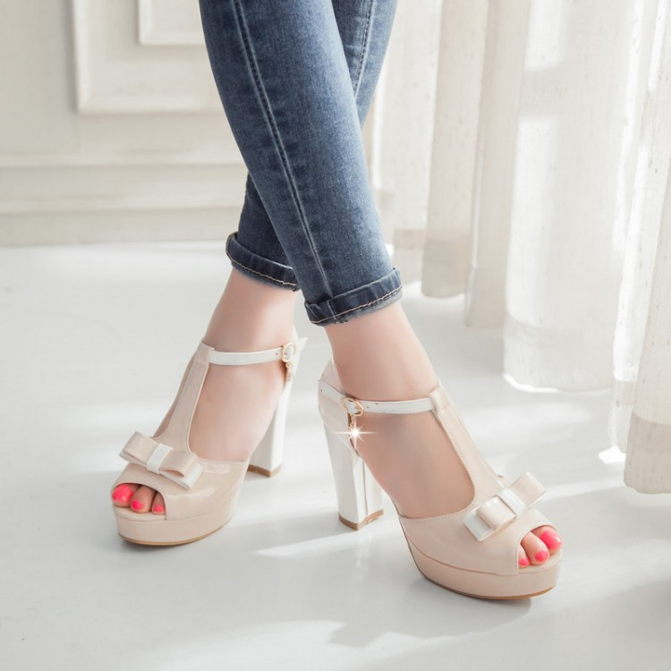 2017 New Summer Women Pumps Fish Mouth High Heels Sandals with Thick Paltform Color Straps of Sweet Bowknot Shoes Big Size 33-43<br><br>Aliexpress
