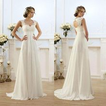 Buy 2016 Simple Long Empire Waist Lace Open Back Maternity Beach Reception Wedding Dresses Bridal Gowns Pregnant Women Cheap for $109.48 in AliExpress store