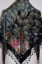Black 100% Silk Velvet Scarf Shawl Chinese National Women Triangle Pashmina Handmade Beaded Peacock Cape Mujeres Bufanda(China)