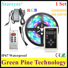 1 set SMD 5050 5M Draw Marquee-LED Banner RGB Digital Strip tape IP67 Waterproof flash strip + Remote + 5A Power Adapter