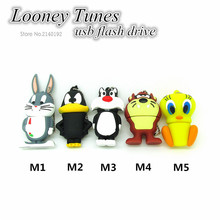 Hot Sale flash memory drives Usb2.0 Looney Tunes usb flash drive pen drive 32g pendrive 16g 8g 4g Cute Cartoon with metal chain(China)