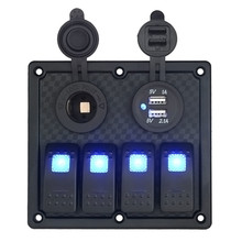 AUTO 4 Gang Waterproof Marine Blue Led Switch Panel With Power Socket Circuit Breakers Switch Car Dash 12V metal switch OC 24