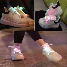 Hot Sale LED 7 Color Change Shoelace Luminous Glow Light Up Nylon Strap Night Club Party