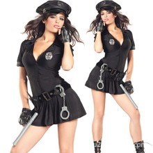 high quality sexy lingerie black police woman zipper Uniform sexy costumes for adults erotic fantasy pajama dress with cap women(China)