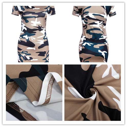 19 New Summer Fashion Women Sexy Tank Dress Slim Casual Camouflage Military O-Neck Print Splice Empire Mini Dresses Vestidos 33