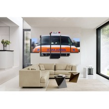 Yellow fire truck canvas wall art abstract print home decor for living room pictures 5 panel large poster HD printed(China)