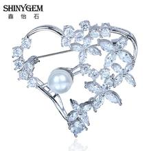 2016 New Vintage Style Women Costume Brooch Pin Fashion Imitation Pearl Brooch Jewelry Heart Shape Big Crystal Brooch For Women