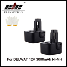 Eleoption 2 pack 12V NI-MH 3.0AH Rechargeable Power Tool Battery for DEWALT DW9071 DW9071 DW9072 Free Shipping