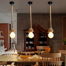 1M one head  Rope pendant lights + Black ceiling plate vintage restaurant lamp dining room pendant lamps hemp rope light
