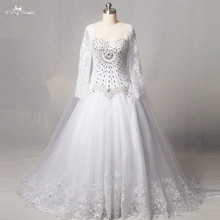 Buy RSW1250 Real Pictures Yiaibridal Sweetheart Neckline Long Sleeves Line Crystal Wedding Dress for $233.70 in AliExpress store