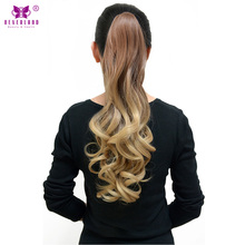 "Neverland 20"" Wavy Synthetic Hair Claw Clip on Ponytail Hairpieces High Temperature Fiber Ombre Hair Fake Ponytails(China)"