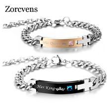 ZORCVENS DIY Her King and His Queen Couple Bracelets with Crystal Stone Charm Lover Wedding Bracelet for Women Men(China)