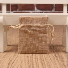small Plain linen jute Burlap Drawstring Bags soap rings Earrings Brooch jewelry Wedding Favor gift package pouches 7*9cm 50pcs(China)