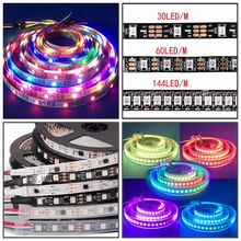 2016 Hot sale DC5V Black/White FPCB WS2812B Smart led pixel strip 30/60/144 leds/m the length as you choose Free shipping