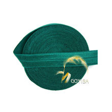 "GOYIBA 5 Yard 5/8"" 1.5cm Hunter Green FOE Foldover Elastics Spandex Satin Kids Headband Hairband Lace Trims Sewing Notion 006785"