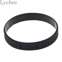 1 piece Debossed Letter One Life One Chance Silicone Wristband Black Rubber Bracelet Jewelry for Men Women(China)