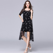 Make 2017 summer two-piece outfit elegant round collar show thin long irregular dress in chiffon printing