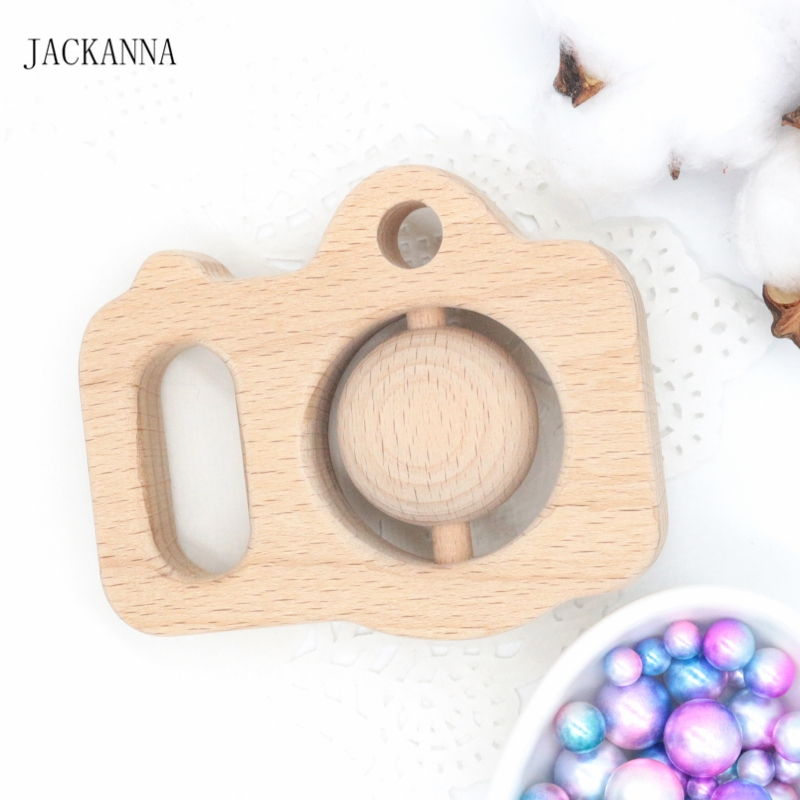 Wooden Camera Circle Beads Bracelet Safe Teether Chew Toy Baby Grasping Toy