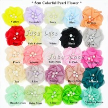 50pcs/lot shabby Frayed Chiffon Flower with Rhinestone/pearl Hair Accessory chiffon with beads 25colors selection shabby flower