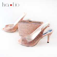 BS013  Peach Rhinestones Italian Shoes And Matching Bag Set Slingbacks Dress Sandals Women Wedding Shoes PLus Size
