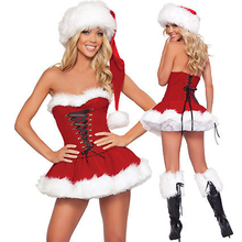 Sexy Christmas Costume For Women Thick Velvet Santa Cosplay Suit Erotic Babydoll Uniform That Christmas Party Ds Dress Outfit(China)