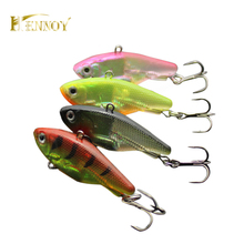Hennoy 3pcs /lot Soft Pesca VIB lures for Sea Bass Fishing Jig Head Soft Baits With Treble Hooks(China)