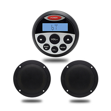 Waterproof Marine Stereo Motorcycle Audio Bluetooth MP3 Player AM/FM Radio for RV Car ATV Yacht SPA + 4 inch marine speakers(China)